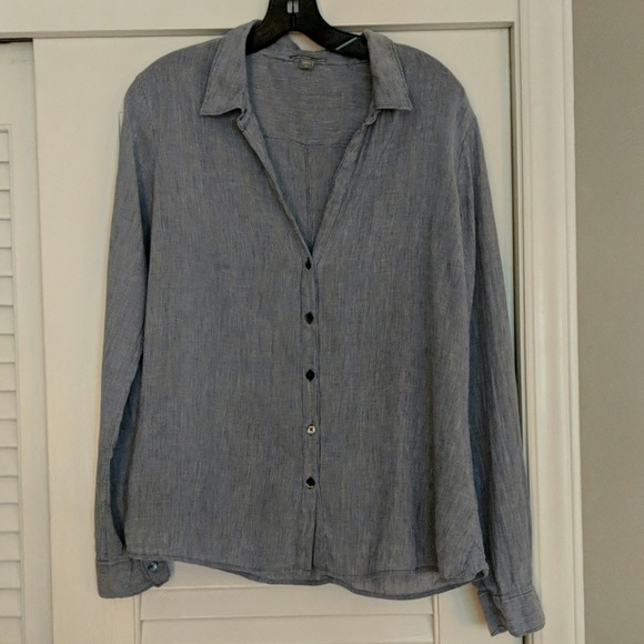 James Perse Tops - James Perse Flax Blend Striped Shirt XL 4
